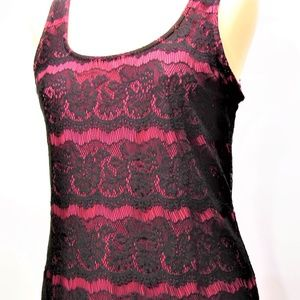 🍉 Studio Y Black Lace Overlay Magenta Tank Top